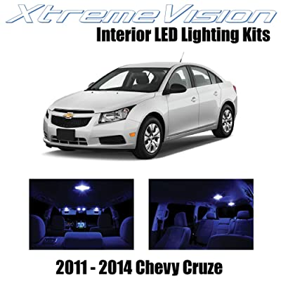 Xtremevision Interior LED for Chevy Cruze 2011-2014 (12 Pieces) Blue Interior LED Kit + Installation Tool: Automotive