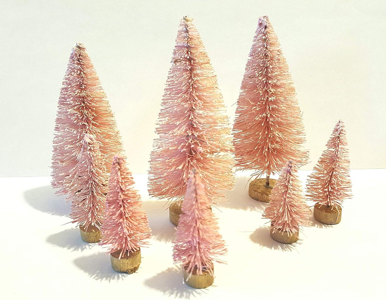 12PCS Mini Frost Christmas Tree Santa Village Putz Brush Bottle Sisal Xmas M7D3