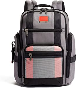 TUMI - Alpha Bravo Sheppard Deluxe Brief Pack Laptop Backpack - 15 Inch Computer Bag for Men and Women - Grey/Bright Red