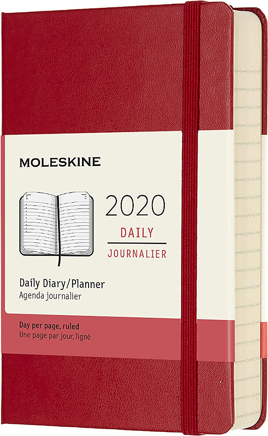 """Moleskine Classic 12 Month 2020 Daily Planner, Hard Cover, Pocket (3.5"""" x 5.5"""") Scarlet Red"""