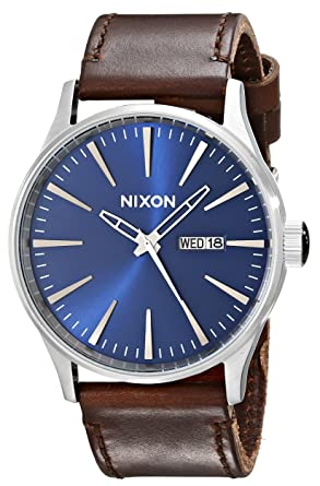 navy leather hickory brass uk watch iconsume sentry medium nixon watches from