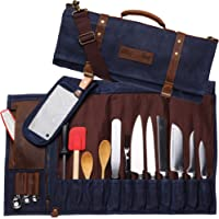 Chef Knife Waxed Canvas Genuine Leather Roll Bag | 22 Pockets for Knives & Kitchen Utensils Waterproof Material | Great…