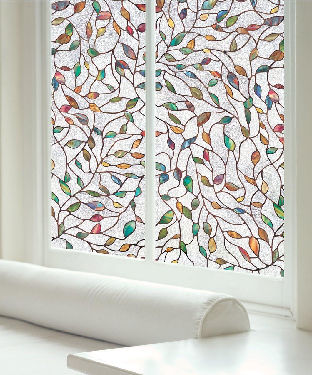 VOSAREA Pellicola per Vetri 3D Pellicola per Vetri Arcobaleno Adesivo Decorativo per Finestre in Vinile Non Adesivo Adesivo Statico per Finestra per Cucina Domestica Decorazione Bagno