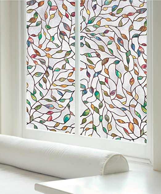 decorative windows for bathrooms frosted vinyl for.htm amazon com artscape 02 3021 new leaf window film  multi color  artscape 02 3021 new leaf window film