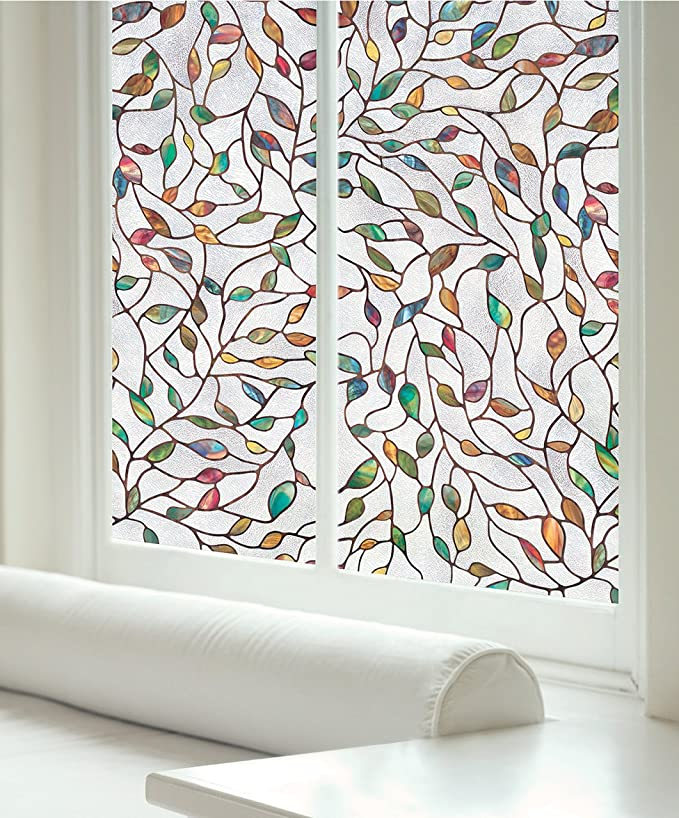 decorative glass windows traditional bathroom.htm amazon com artscape 02 3021 new leaf window film  multi color  artscape 02 3021 new leaf window film