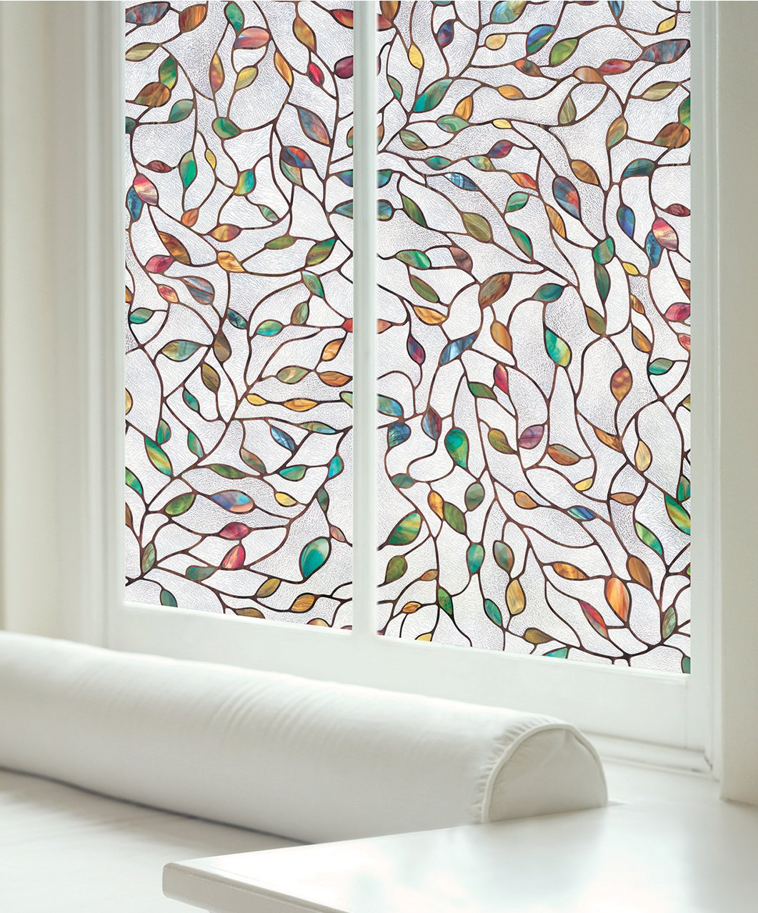 Artscape 02-3021 New Leaf Window Film 24'' x 36'', Clear, Etched, Textured, Multi Color by ARTSCAPE