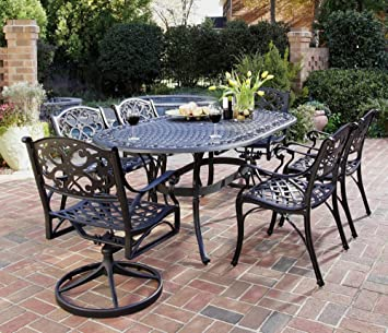 Home Styles 5554 3358 Biscayne 7 Piece Outdoor Dining Set, Black Finish