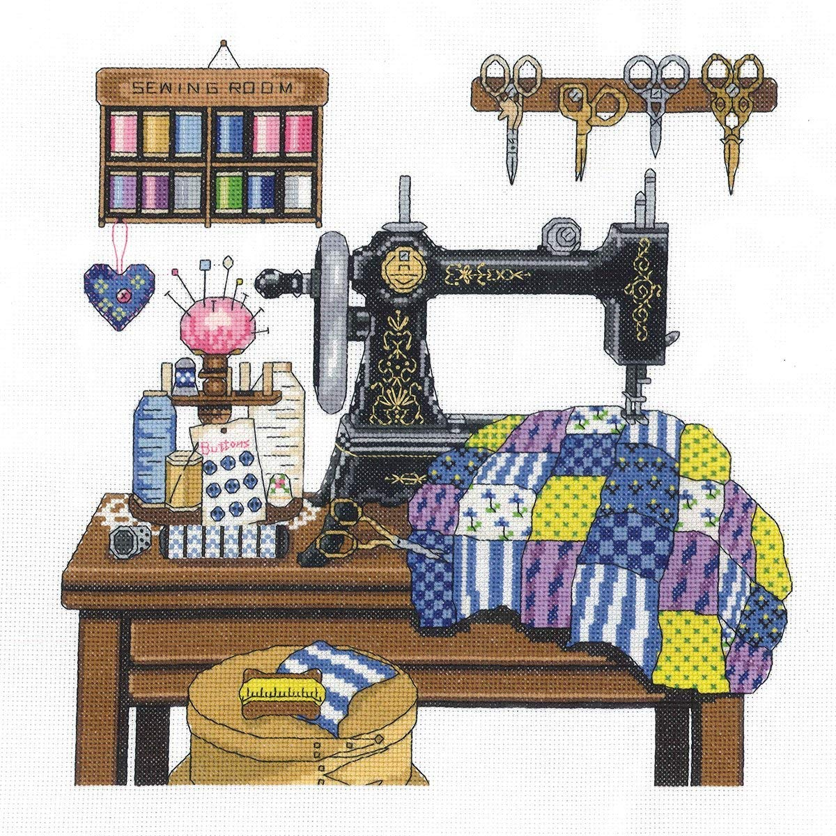 Janlynn 14 Count Antique Sewing Room Cross Stitch Kit, 12 by 12-Inch 17-0100