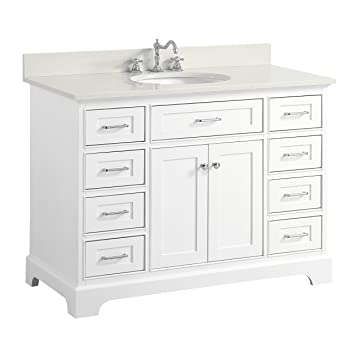 Aria 48 Inch Bathroom Vanity (Quartz/White): Includes A White Cabinet