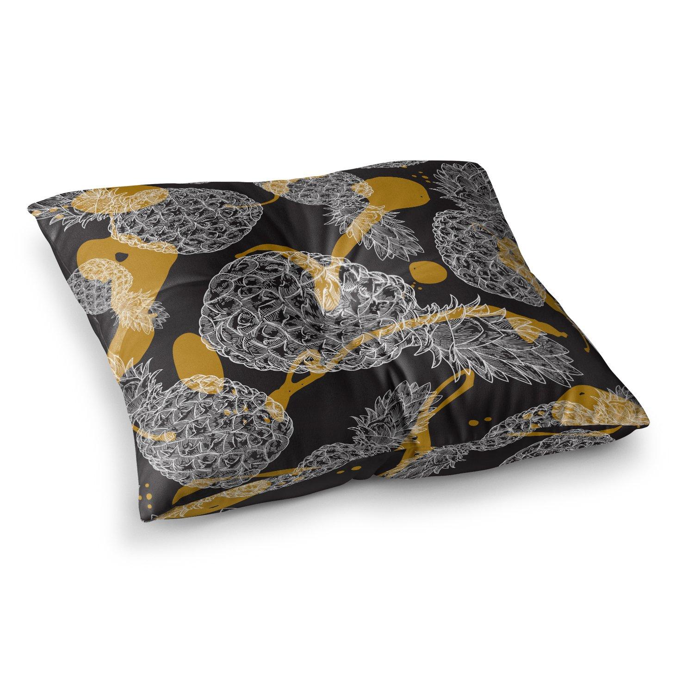 26 x 26 Square Floor Pillow Kess InHouse Sam Posnick Pineapple Splash Black Gold Illustration