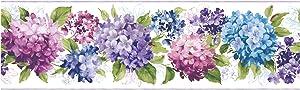 York Wallcoverings KITCHEN & BATH HYDRANGEA BORDER cream, purple, red/purple, blue, green