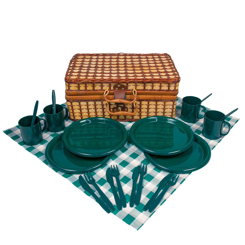 *Bambus Picknick Korb für 4 Personen grün/weiß*