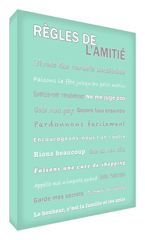 Feel Good Art Règles de l'Amitié Toile sur Cadre Mural de Style Moderne/Typographique Vert Canard 30 x 20 cm FRDR128-07FR