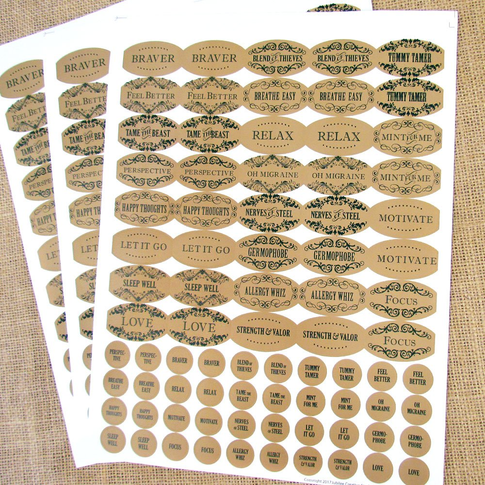 120 Apothecary Oval Poly Weatherproof Kraft Look Essential Oil Bottle Labels PLUS 120 Matching Top Labels by Rivertree Life