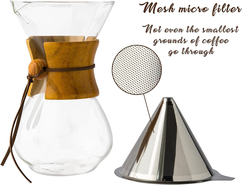 Comfify pour Over Coffee Maker con caraffa in Vetro borosilicato e Filtro Riutilizzabile in Acciaio Inox by Light Brown
