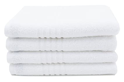 ZOLLNER 4 Toallas de Lavabo, 50x100 cm, Rizo de algodón 100%, Blancas