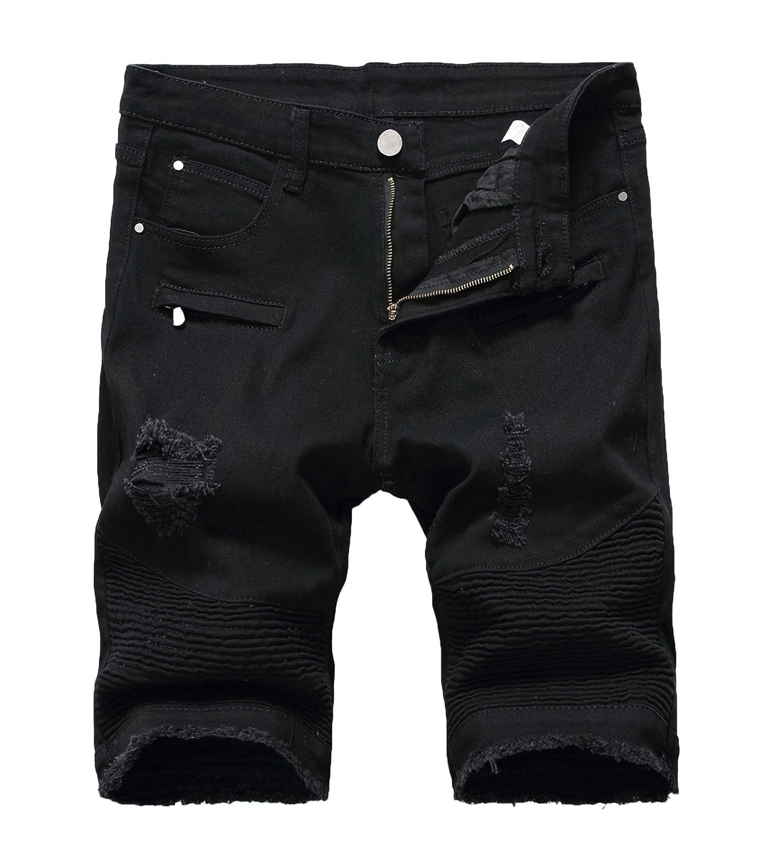 Enrica Men's Casual Zipper Biker Jeans Shorts Moto Denim Short Pants MJE26