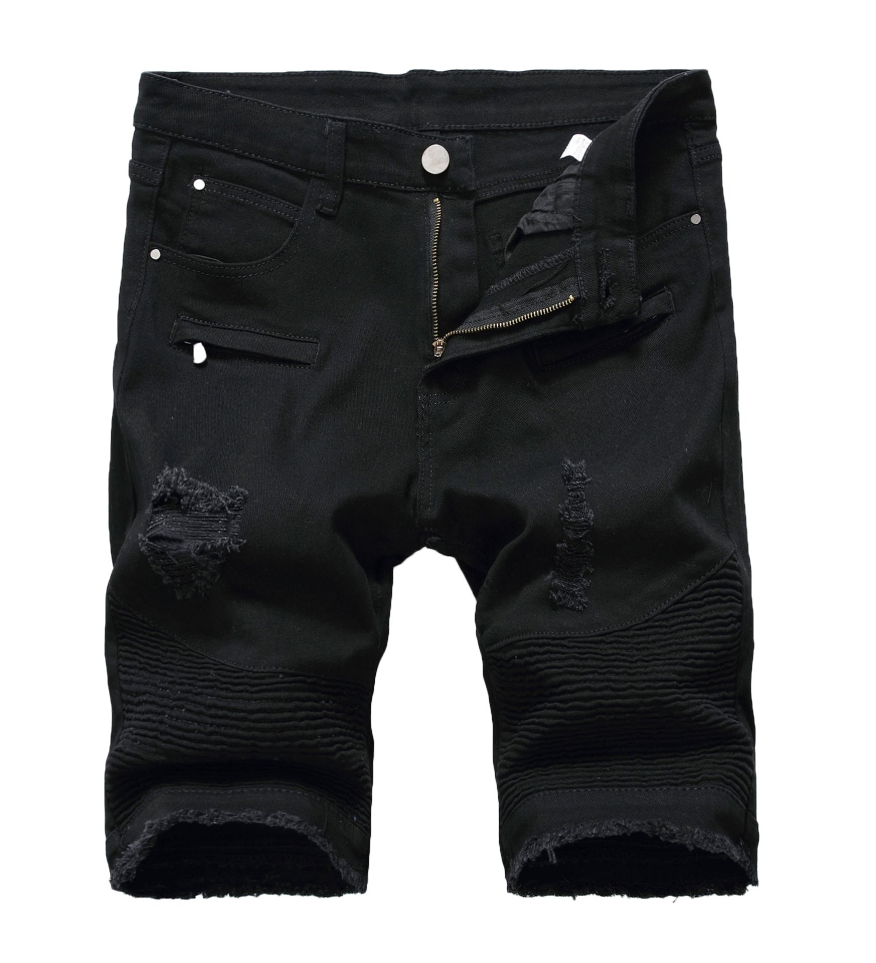 Mens Casual Zipper Biker Jeans Shorts Moto Denim Short Pants,Holes&black,38