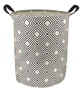 NTAOHAMPER Laundry Basket,Round Cotton Linen Laundry Hamper,Collapsible Storage Bin with Handles for Home,Office,Gift Basket,Room Decor(Geometric B)