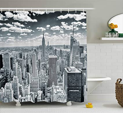 Ambesonne New York Shower Curtain NYC Over Manhattan From Top Of Skyscrapers Urban Global Culture