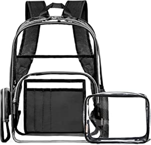NiceEbag Clear Backpack for School Transparent PVC Backpack with Small Bag Stadium Approved Clear Bookbag See Through Travel Backpack Fit 15.6 Inch Laptop for Women Men Girls Boys,Black