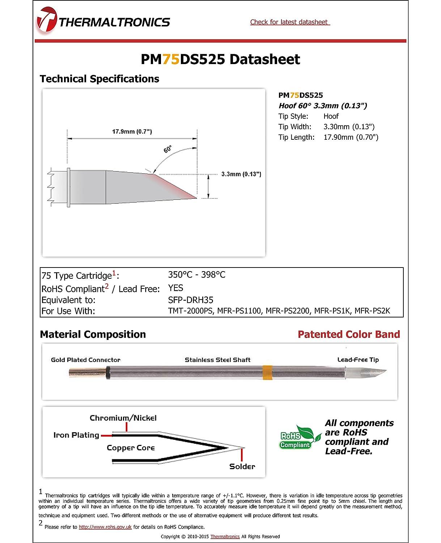 Thermaltronics PM75DS525 Hoof 60deg 3.3mm interchangeable for Metcal SFP-DRH35 0.13