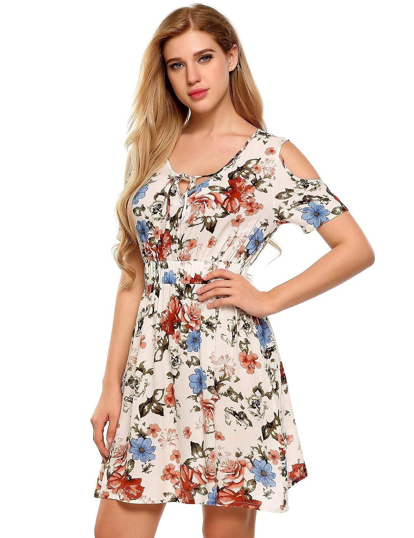76886f7739 Dicesnow Cold Shoulder Dresses for Women Plus Size Women's Floral Print  Cold Shoulder Elastic High Waist Short Sleeve O Neck Elegant Sexy Dresses  Dresses