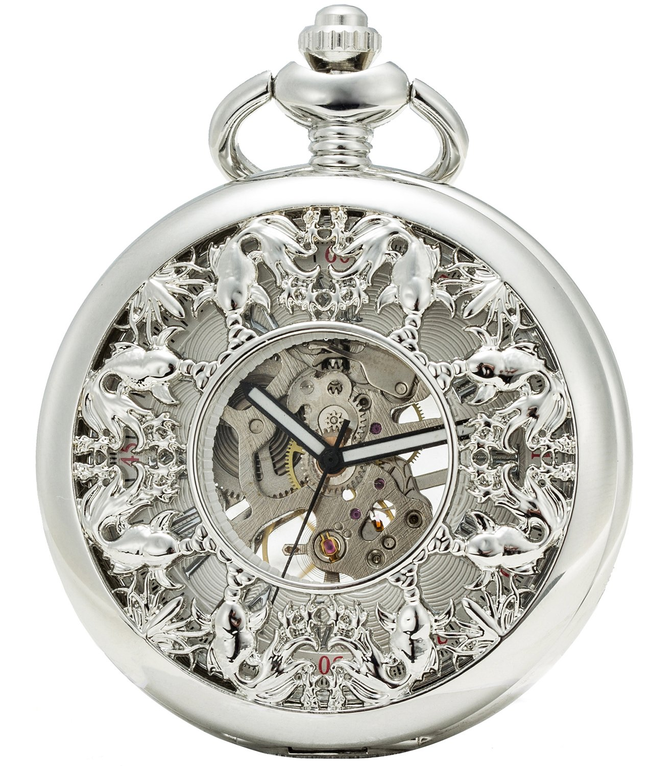 SEWOR Grace Koi Skeleton Pocket Watch Black Mechanical Hand Wind with Leather Gift Box (Sliver) by SEWOR