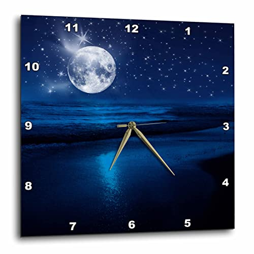 3dRose DPP_79424_2 Full Moon Shining in A Starry Sky on The Beach Where The Ocean Meets Land.-Wall Clock, 13 by 13-Inch