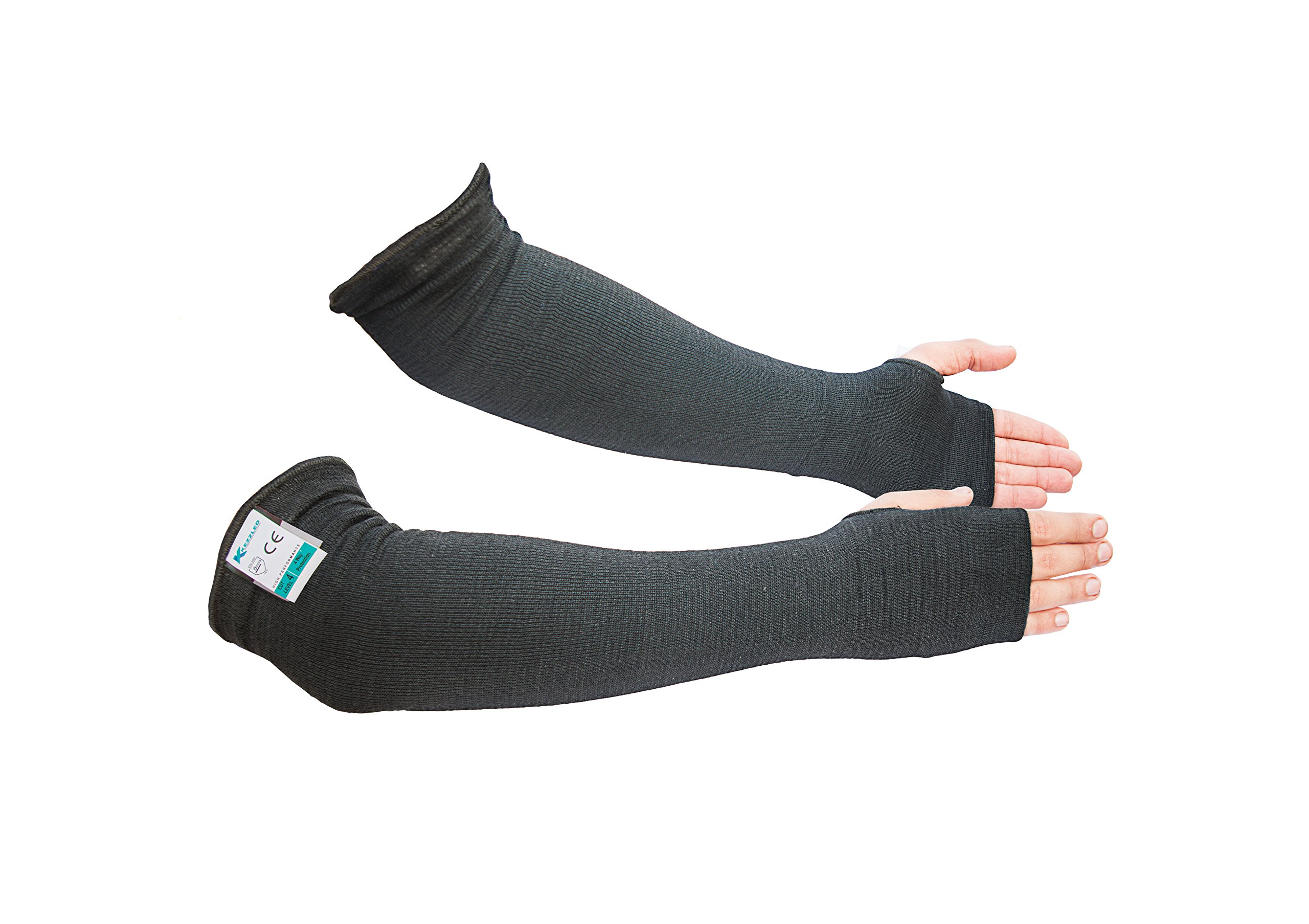 Kevlar EN388 Double Ply Cut-4, Tear-3, Puncture-3 18-Inch Knit Sleeve with Thumb Slot (Black)