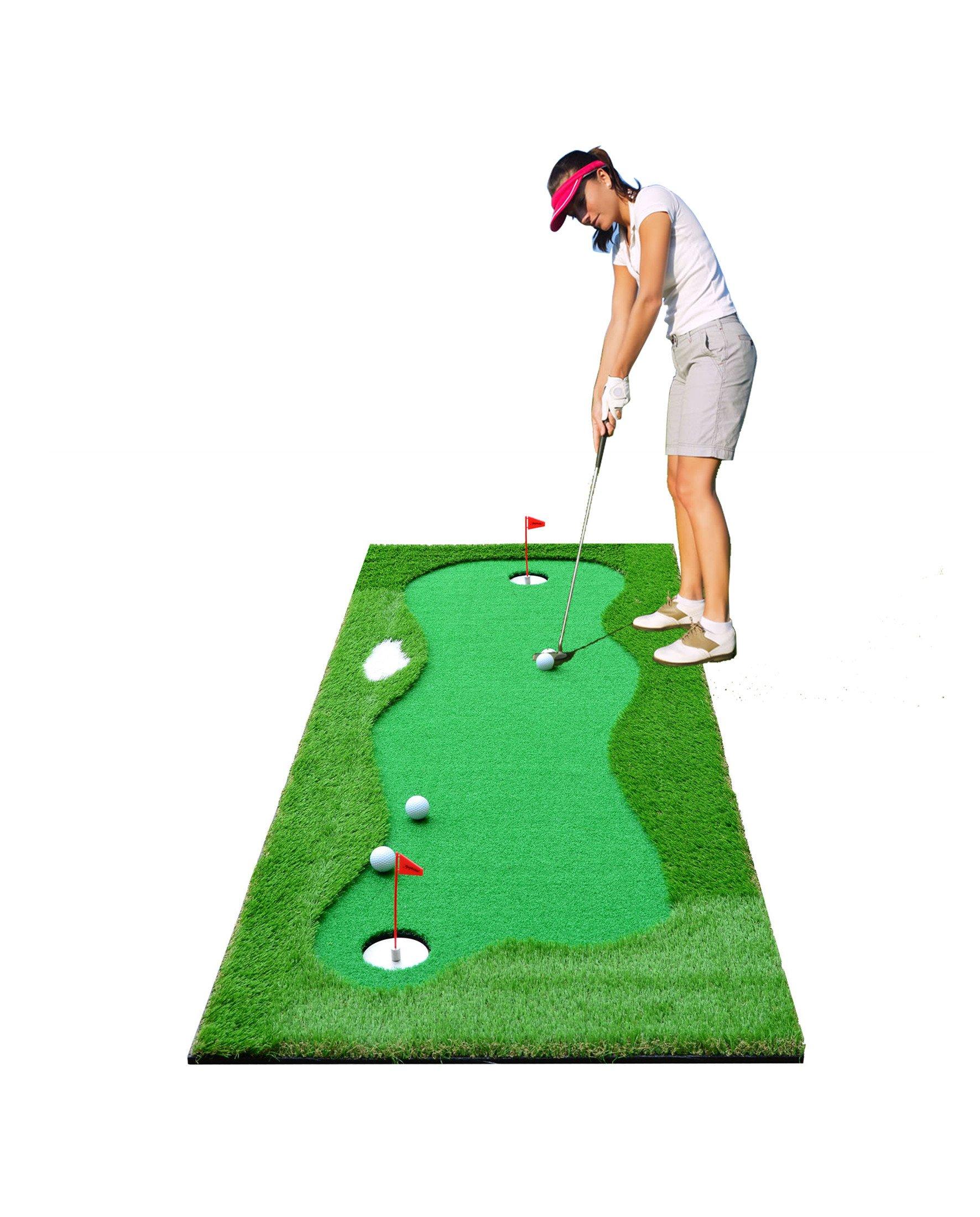 77tech Large Artificial Grass Golf Putting Green Mat Indoor/Outdoor Golf Training Aid Equipment Mat (2.5x10ft)
