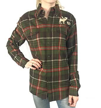 0b2c20137 Amazon.com: Moose Squirrel Plaid Flannel Button Down Shirt Inspired ...