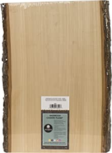 Walnut Hollow Basswood Country Plank Large with Bark for Woodburning, Home Décor, and Rustic Weddings