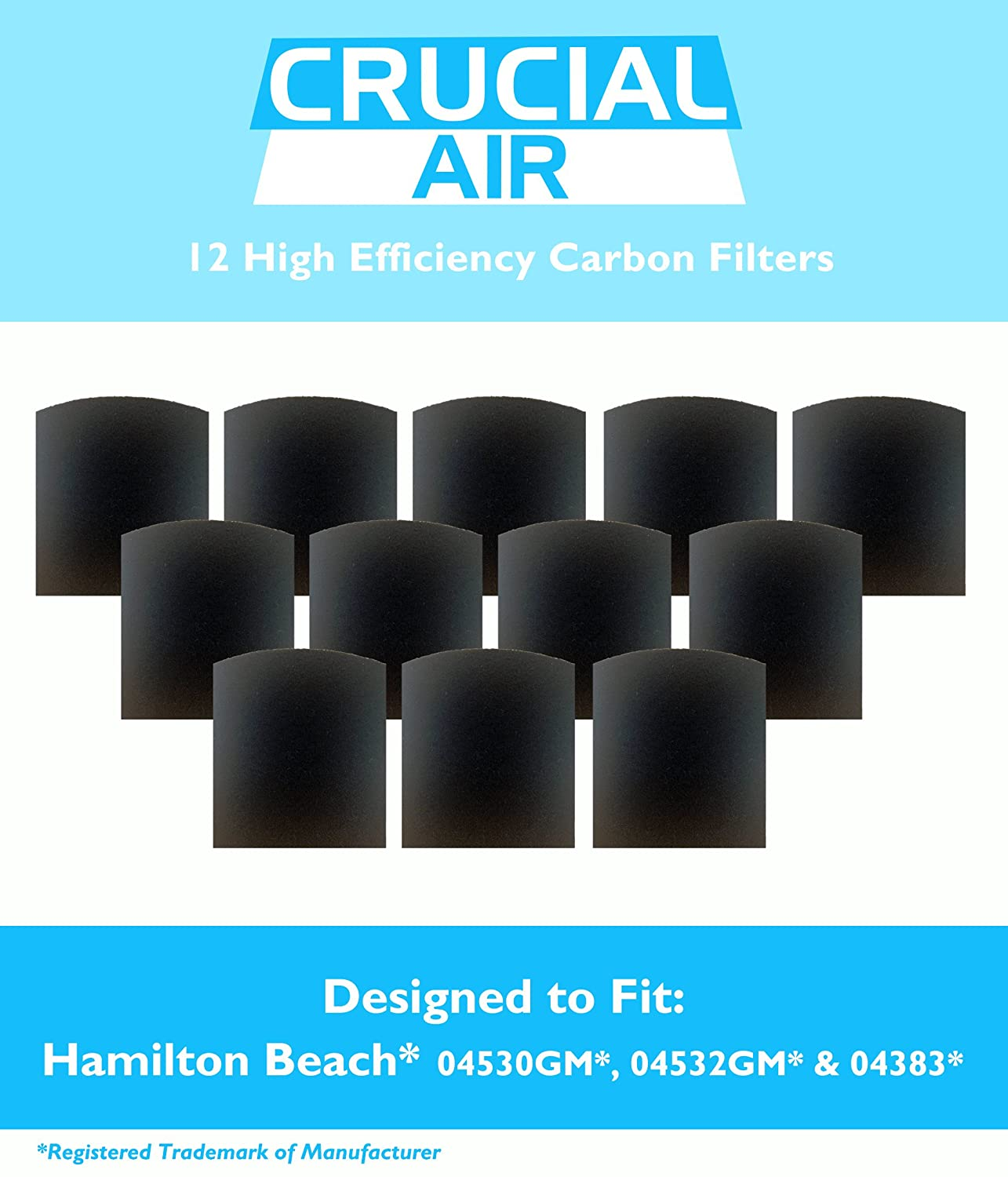 12 Crucial Air Replacement Carbon Filters for Hamilton Beach True Air Odors  04530GM 04532GM 04383 04531GM