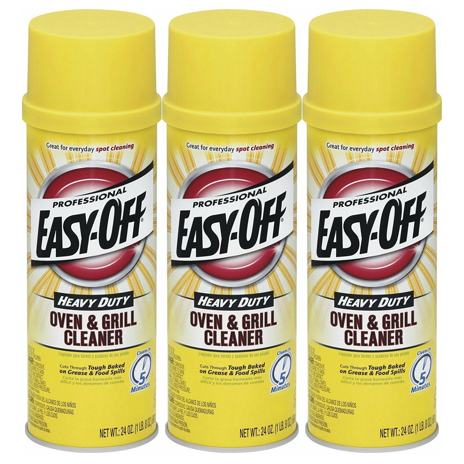 Easy-Off Professional Oven & Grill Cleaner, 24 oz Can, Count of 3