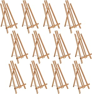 "U.S. Art Supply 18"" Large Tabletop Display Stand A-Frame Artist Easel (Pack of 12), Beechwood Tripod, Painting Party Easel, Kids Student Table School Desktop, Portable Canvas Photo Picture Sign Holder"