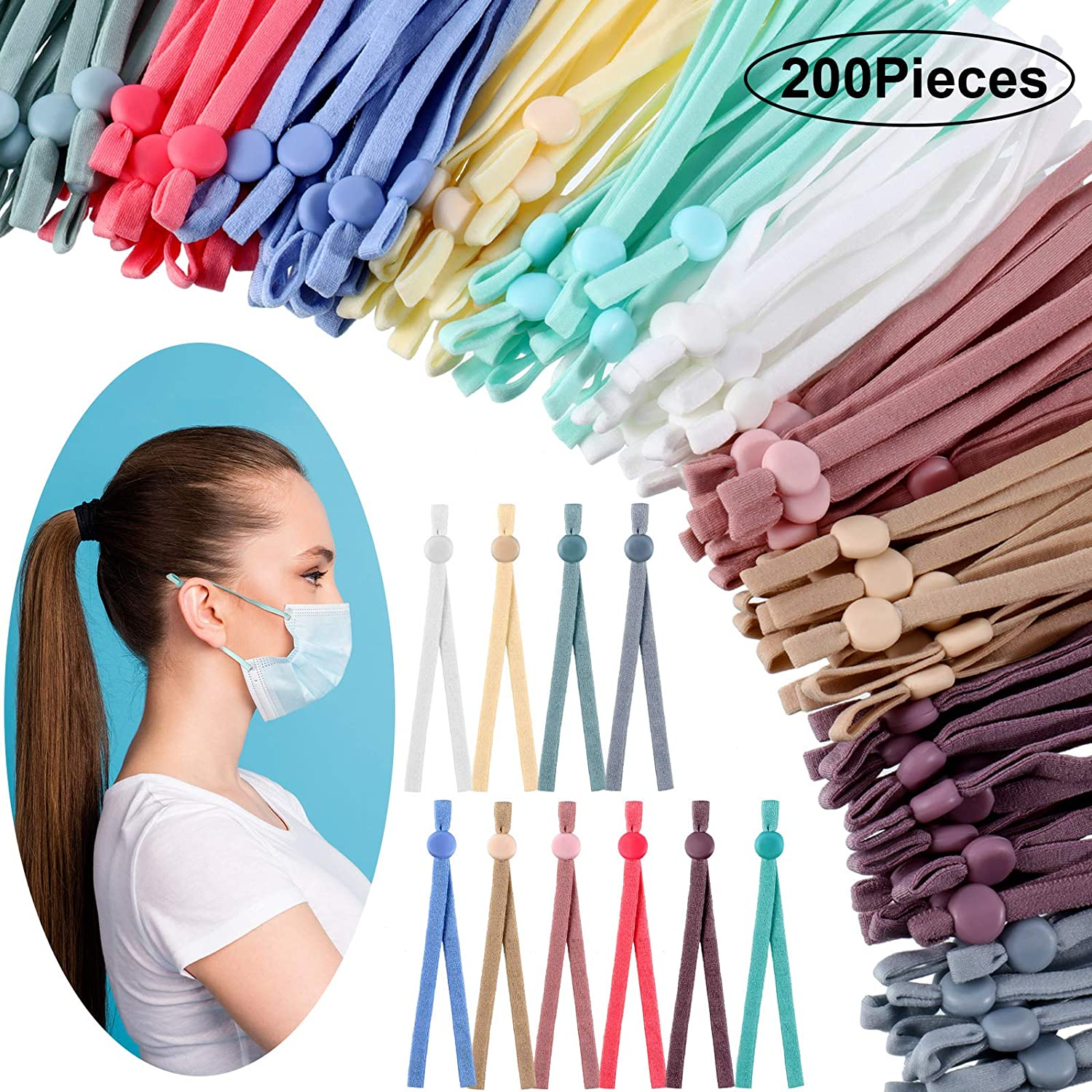 120 Pieces Elastic String Bands with Adjustable Buckle Stretchy Ear Band Strap Elastic Cord Bands Earloop Anti-Slip Strap for DIY Sewing Making Supplies 12 Colors