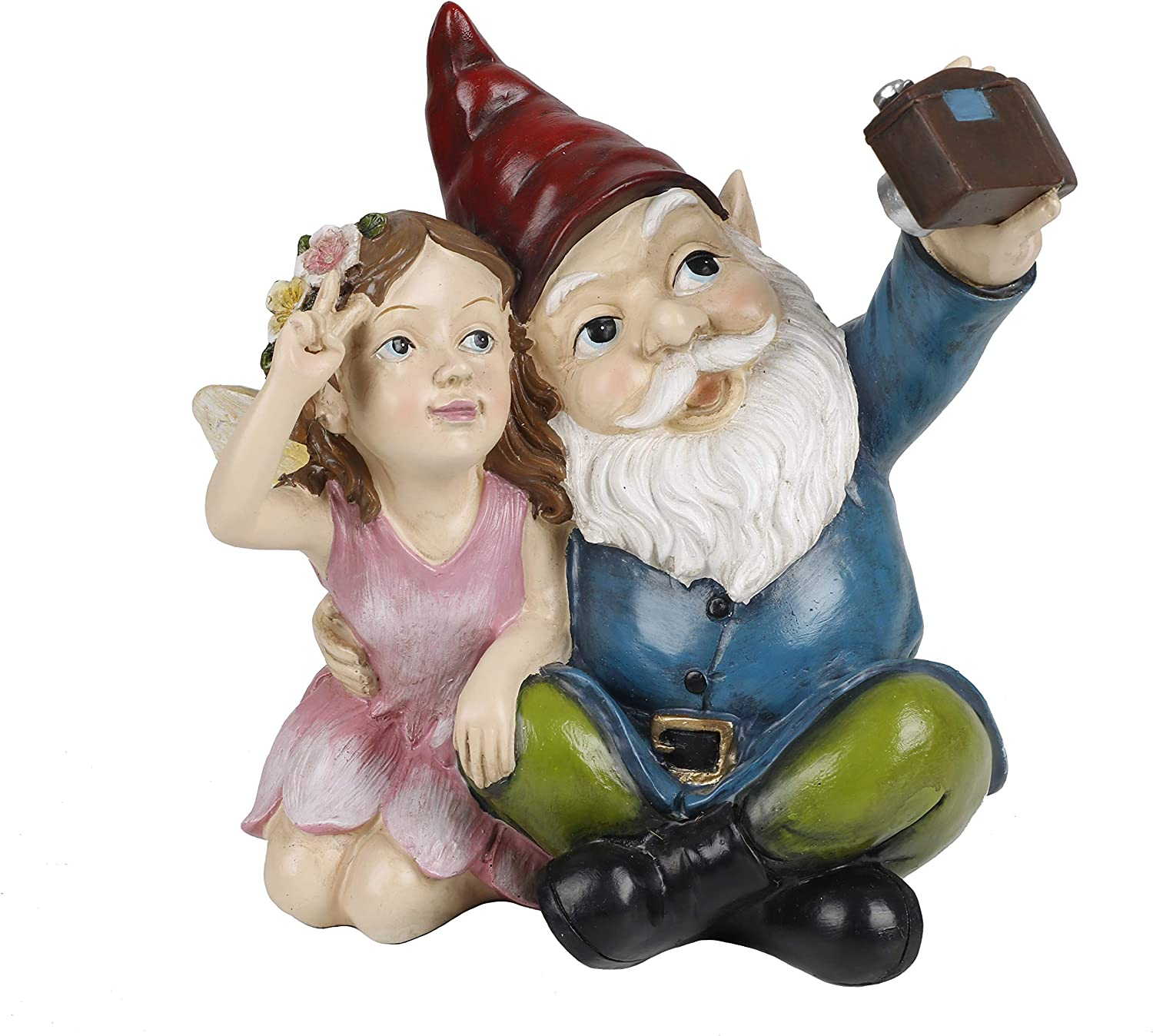 TERESA'S COLLECTIONS Garden Gnome Statue, Outdoor Gnome with Solar Lights, Cute Lawn Gnome Taking Photo with Garden Fairy, Funny Decoration for Home Yard