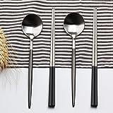 LEKOCH 箸 スプーン セット ステンレス製 カトラリーセット 二膳セット (ブラック&シルバー)