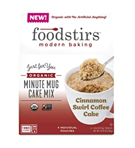 Foodstirs Organic, Non GMO Minute Mug Cake Mix Cinnamon Swirl Coffee Cake, 2.54 Ounce(Pack of 4)