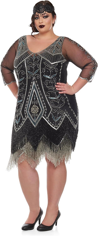 dress gatsby flapper 1920s size beaded vintage 8 fringe sequin s uk 24 14 great