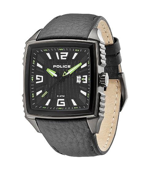Police PL.13839JSU-02 - Reloj analógico de cuarzo para hombre con correa de piel, color negro: Amazon.es: Relojes