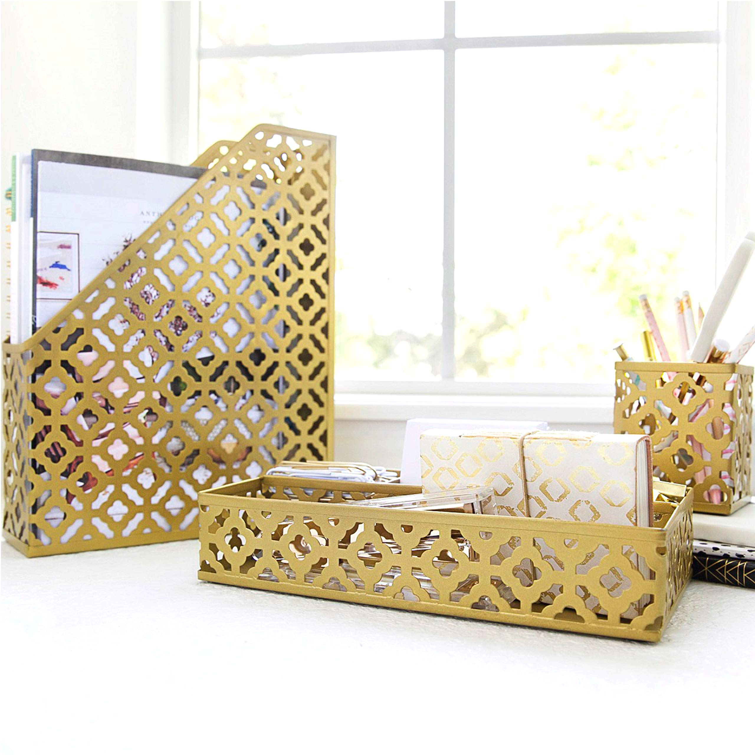 Blu Monaco Gold Desk Organizer for Women - 3 Piece Desk Accessories Set - Pen Cup, Magazine-File-Mail Holder, and Accessories Tray - Antique Gold Brass Finish Office Supplies Stationery Decor by Blu Monaco (Image #2)