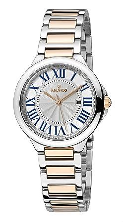 KRONOS - Ladies White 998.9.23- Reloj de señora de Cuarzo, Brazalete de Acero Bicolor, Color Esfera: Plateada: Amazon.es: Relojes