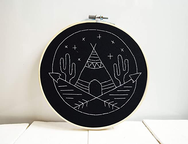 Amazon Com Monochrome Embroidery Hoop Art Indians Home Decor Cactus
