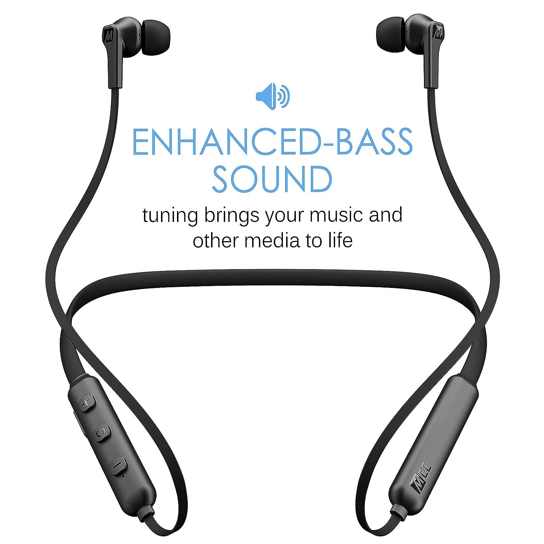 Mee Audio N1 inalámbrico Bluetooth con Banda para el Cuello Auriculares in-Ear con micrófono Integrado, Color Negro: Amazon.es: Electrónica