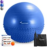 Sportneer Exercise Ball, Anti-burst Dual-sided Balance Yoga Ball with Inflation Pump, Massage Ball, Workout Guide and Carrying Bag