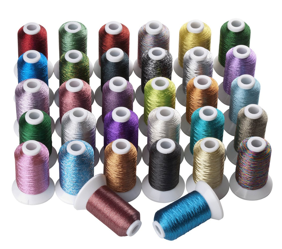 32 Colors Metallic Machine/Hand Embroidery Thread 500 Meters Each for Brother Janome Pfaff Babylock Singer Bernina Husqvaran and Most Home Embroidery Machines CR INDUSTRY 4337016312