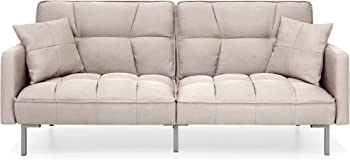 Best Choice Products Tufted Split Back Sofa Bed with 2 Pillows
