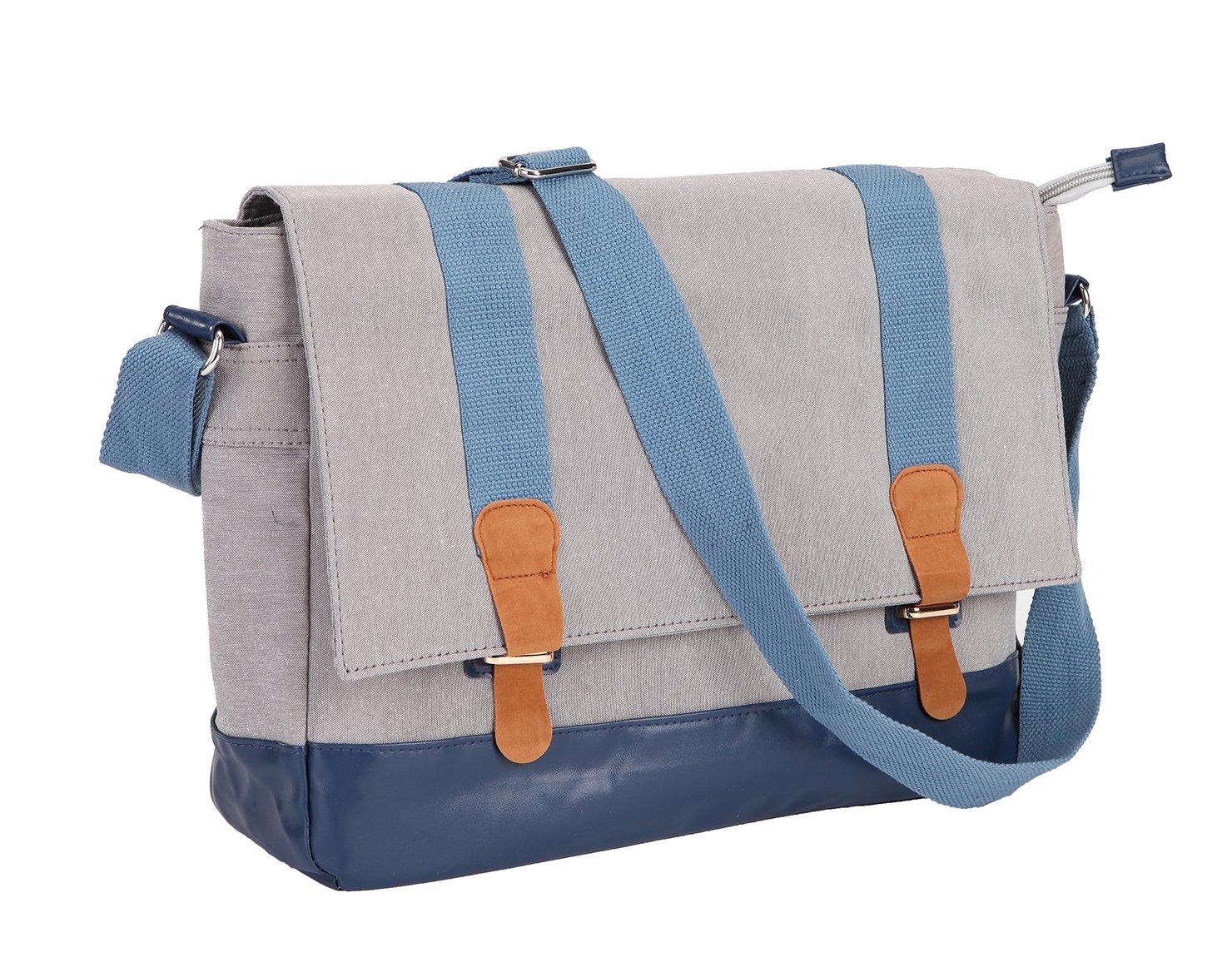 Tisomen Waterproof Crossbody Shoulder Bag School Satchel Casual Daily Messenger Bag for Women and Men (Light Grey)